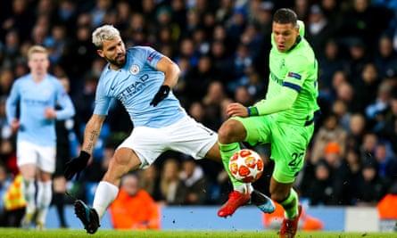 Sergio Aguero of Manchester City takes on Jeffrey Bruma of Schalke on a night when the forward scored twice.