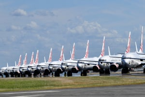 Grounded Virgin Australia aircraft parked at Brisbane Airport in Brisbane on 7 April.
