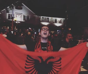 Endrit Metolli celebrates after Albania secure a place at Euro 2016