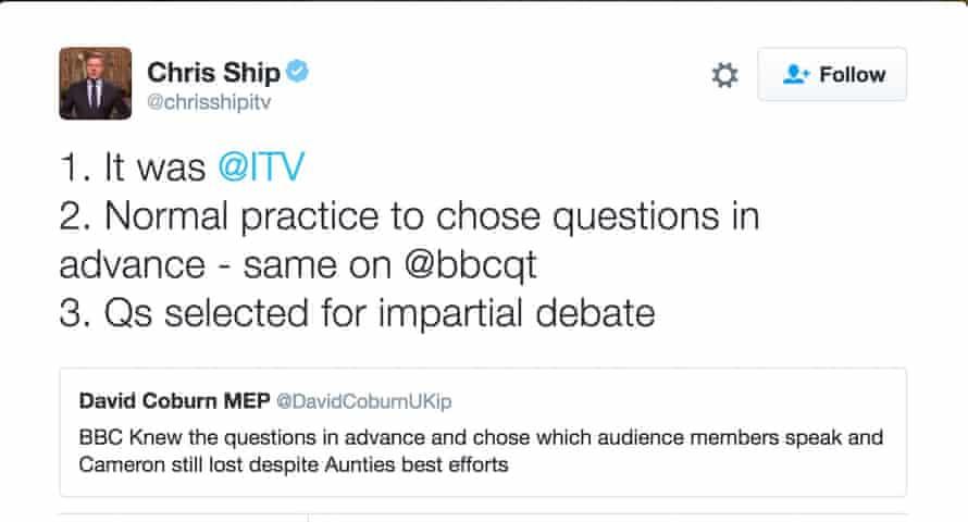 ITV News deputy political editor Chris Ship responds to criticism from Ukip MEP David Coburn about an EU referendum debate on ITV1, 7 June 2016.