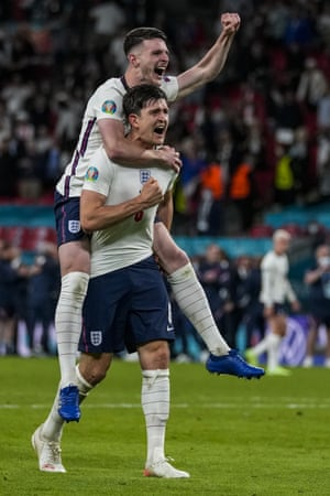Declan Rice (top) and Harry Maguire celebrate England's victory.