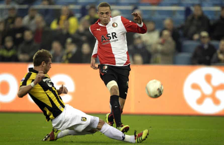 Nemanja Matic slides in to tackle Luc Castaignos of Feyenoord during a spell on loan at Vitesse from Chelsea in 2011.