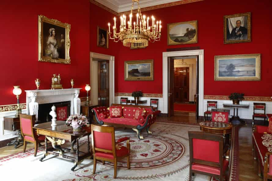 The fabric on the walls of the Red Room was renewed during the Trump administration.
