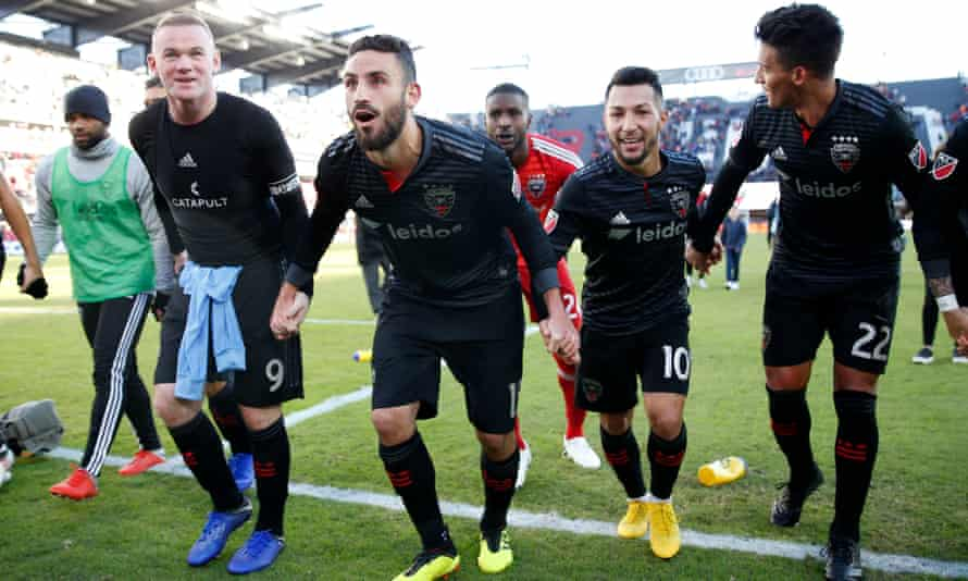 Wayne Rooney celebrates clinching DC United a place in the MLS playoffs