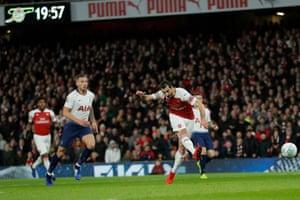 Henrikh Mkhitaryan misses a glorious early chance to score.