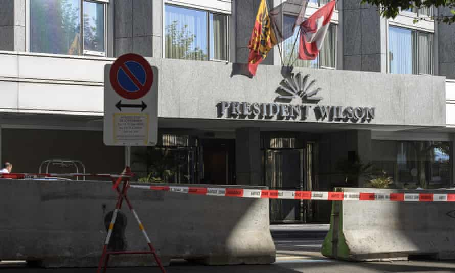 The Hotel Président Wilson in Geneva cordoned off during talks on Syria