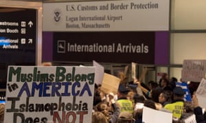 A protest against President Trump's immigration ban at Logan International airport in Boston, Massachusetts in 2017.