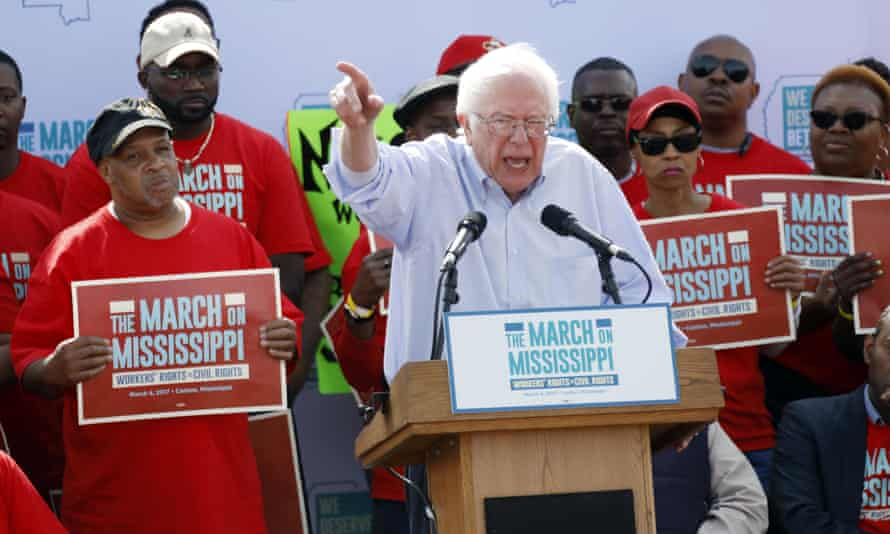 Bernie Sanders at a pro-union rally near Nissan's Mississippi plant on 4 March 2017.