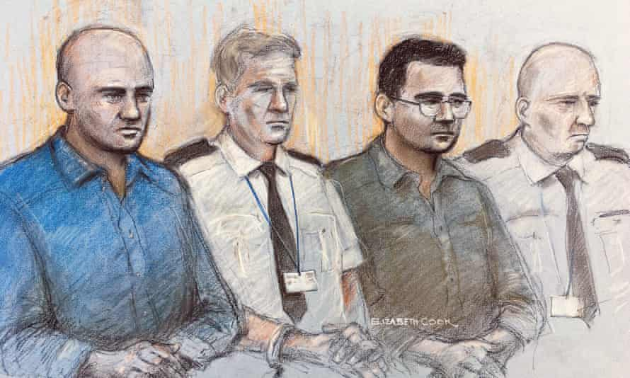 A court artist sketch of Gheorghe Nica (left) and Eamonn Harrison (right) two of four men facing trial at the Old Bailey in London.