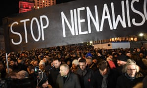 Thousands of people gathered in Warsaw under the slogan 'Stop Hatred' on 14 January.