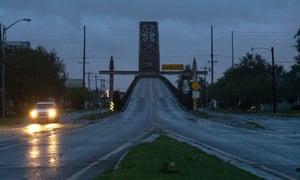 A Morgan City police car patrols the streets during a mandatory curfew as Hurricane Ida hits Morgan City, Louisiana, the United States.