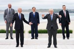 Charles Michel, Joe Biden, Yoshihide Suga (prime minister of Japan), Boris Johnson and Mario Draghi (Italy's PM) attend the G7 summit in Cornwall