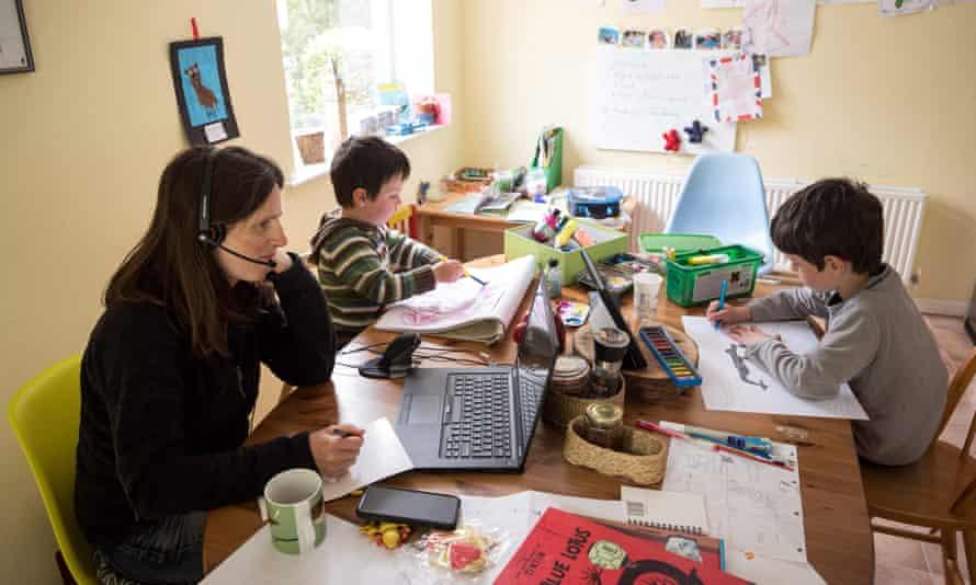 Home schooling in Huddersfield during lockdown, in May, 2020.