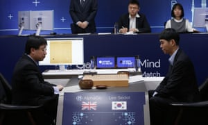 South Korean professional Go player Lee Sedol, right, prepares for his second stone against Google's artificial intelligence program, AlphaGo.