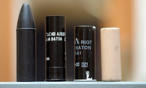 Rubber and plastic bullets used by the security forces in riots, from the Linenhall Library Political Collection, Belfast.