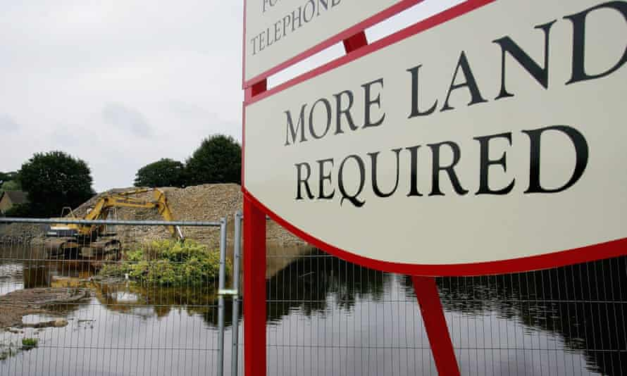 A new development site is flooded beside the River Ock in Abingdon, Oxfordshire