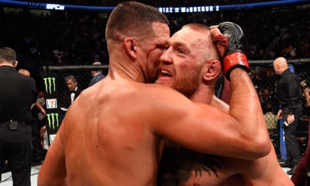 Nate Diaz embraces Conor McGregor after a thrilling fight in Las Vegas
