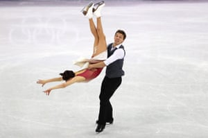 Olympic Athletes of Russia, Ekaterina Bobrova and Dmitri Soloviev, compete in the figure skating team event.