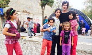 Vanessa and the kids from Kobani. Dilvan is on the right in the white-ish T shirt