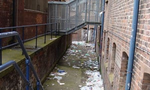 Litter piled up outside HMP Liverpool.