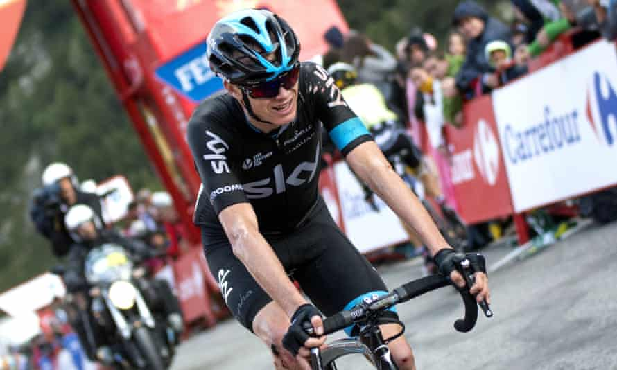 Chris Froome crosses the finishing line in stage 11 of the Vuelta a España but pulled out of the race shortly afterwards with a foot injury.
