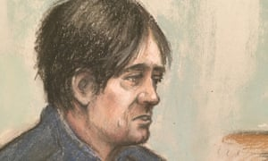 Court artist sketch by Elizabeth Cook of Darren Osborne in the witness box