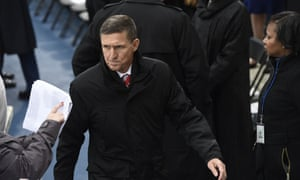 Flynn attends Trump's inauguration as the nation's 45th president. As national security adviser, he is one of the most powerful figures in the new administration.