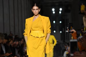 Kaia Gerber, supermodel Cindy Crawford's daughter, walks the runway.