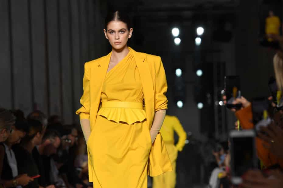 Kaia Gerber, supermodel Cindy Crawford's daughter, walks the runway.