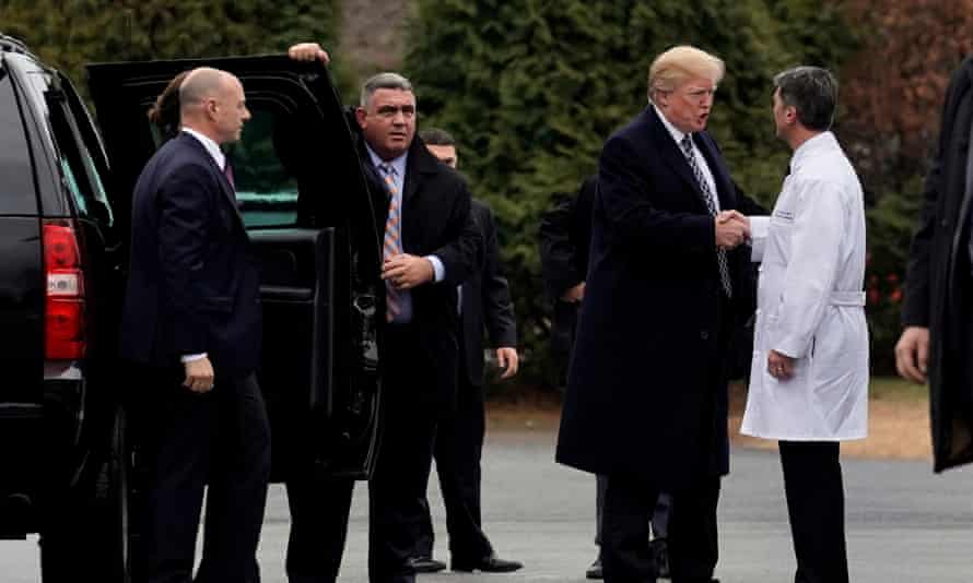 Donald Trump shakes hands with Dr Ronny Jackson after his physical exam at Walter Reed National Military Medical Center.