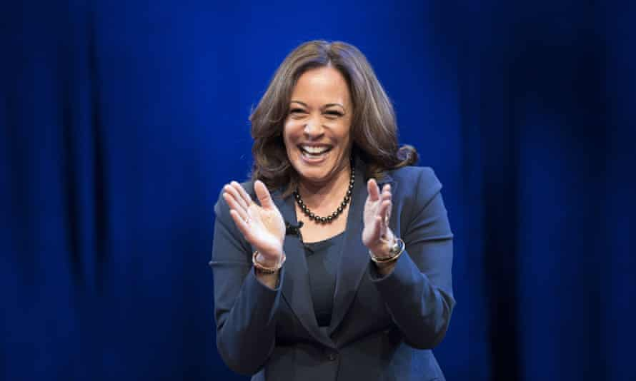 During the breezy, hour-long discussion, Harris defended her career as a prosecutor against criticism from progressive quarters.