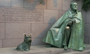 Franklin Roosevelt's Scottie, Fala stands proudly alongside him at the FDR memorial in Washington DC.