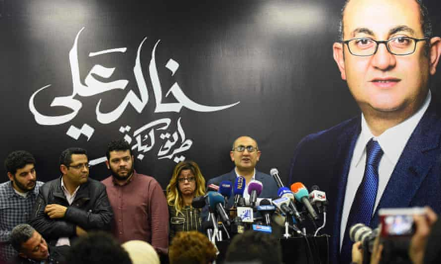 Khaled Ali speaks during a press conference in Cairo