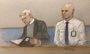 Courtroom sketch of Julian Assange (left).