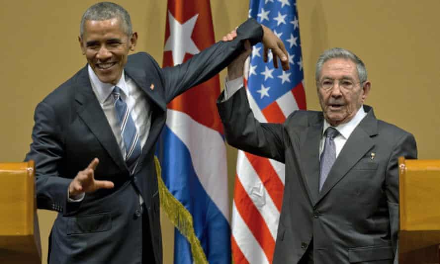 Barack Obama and Raúl Castro: you really got a hold on me.