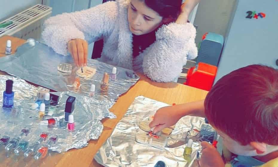 Rachel Smith's children decorating fairy doors