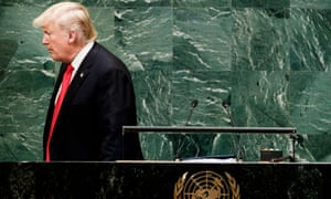 Donald Trump walks away from the podium after addressing the General Debate of the General Assembly of the United Nations at United Nations Headquarters in New York, New York, USA, 25 September 2018.