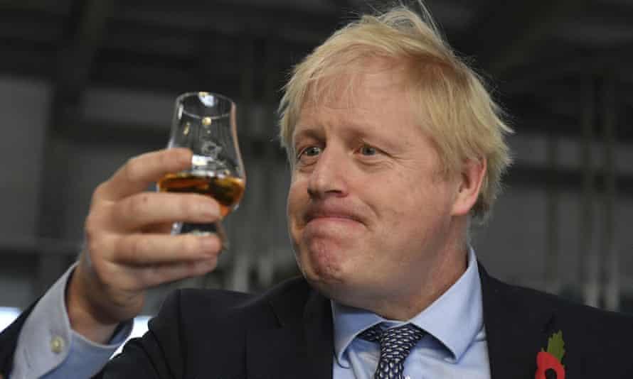 'Like a grotesque illustration to some cautionary nursery rhyme.' Boris Johnson at the Roseisle distillery near Elgin, November 2019