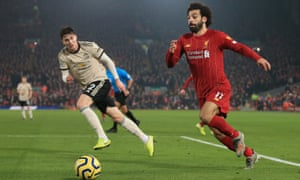 Mohamed Salah of Liverpool battles with Victor Lindelöf of Manchester United at Anfield in January 2020