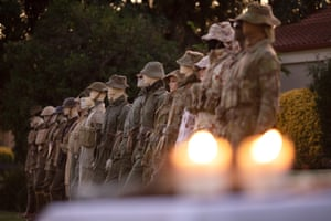 Mannequins on display wearing various Australian soldier field uniforms from over 100 years during a front yard Anzac Day commemoration in Wattle Grove, Sydney.
