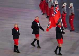Bermuda flag-bearer Tucker Murphy and his short shorts.