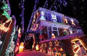 A house decorated with Christmas lights in New Milton, UK