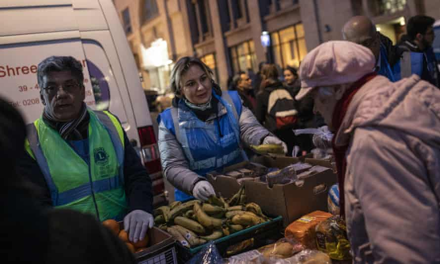 Food being distributed by charity workers to vulnerable people in London, 13 March 2020: 'The welfare state is not equipped for pandemic or economic trauma.'