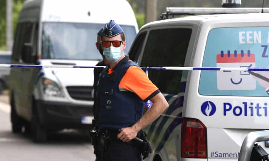 Belgian police cordon off the area after the body of Jürgen Conings was found in the Dilserbos woods, near Dilsen-Stokkem