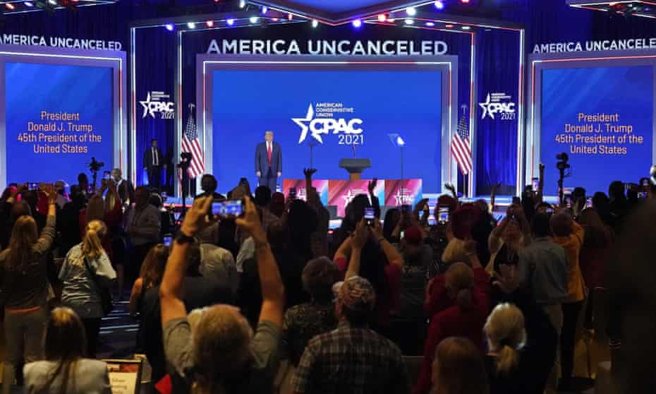 Former president Donald Trump is introduced at the Conservative Political Action Conference (CPAC) in Orlando, Florida, on 28 February.