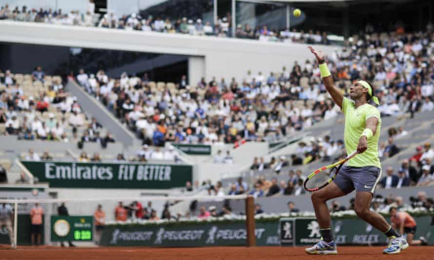 Spain's Rafael Nadal serves to Yannick Hanfmann during the No 2 seed's straight-sets win in the French Open first round.
