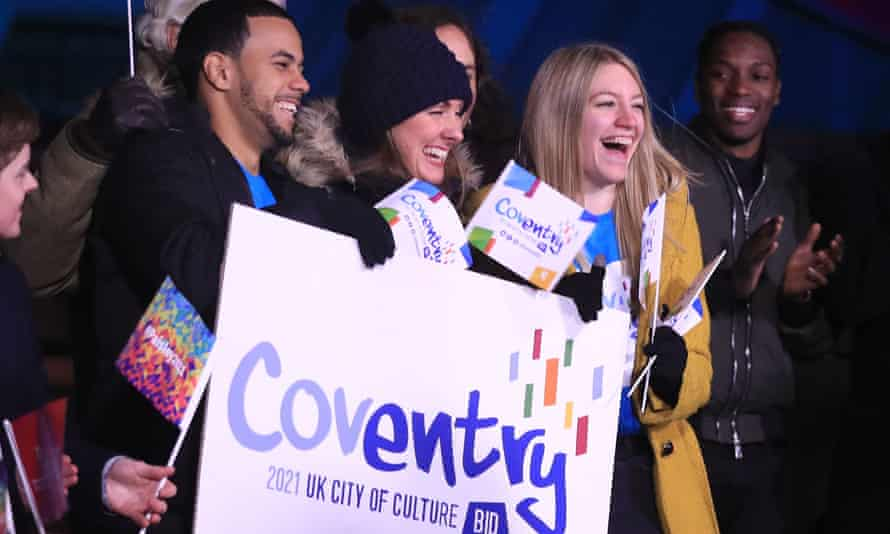 Members of the Coventry bid team celebrate winning UK City of Culture 2021.