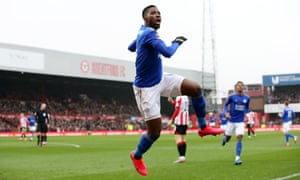 Leicester City's Kelechi Iheanacho celebrates scoring the only goal of the game.