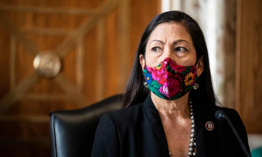 Deb Haaland during a Senate energy committee confirmation hearing on 24 February.