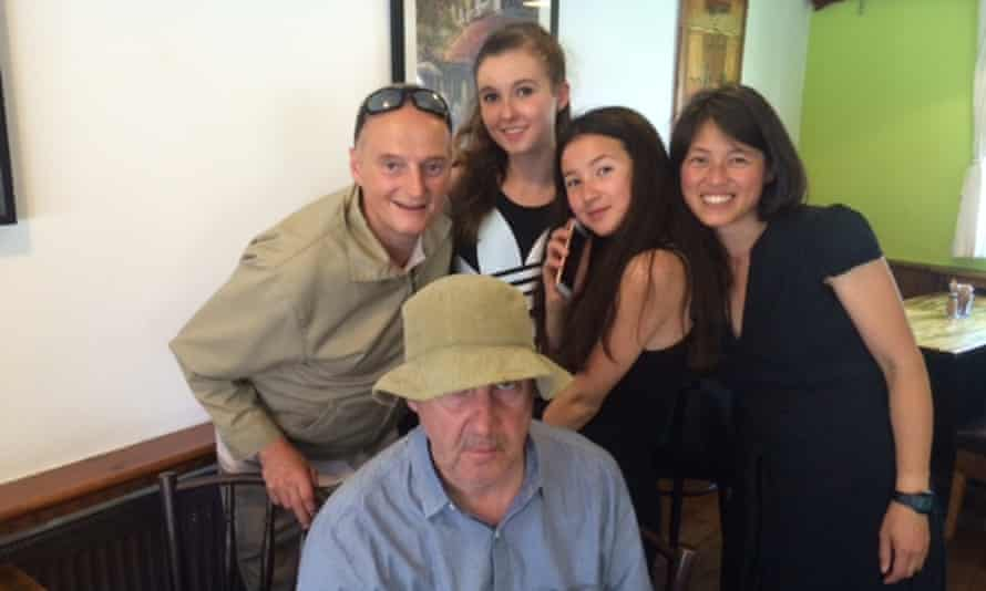 Stephen Mayers, front, a month before he died, with brother Andrew, niece Lola, daughter Sienna and wife Yasmin.